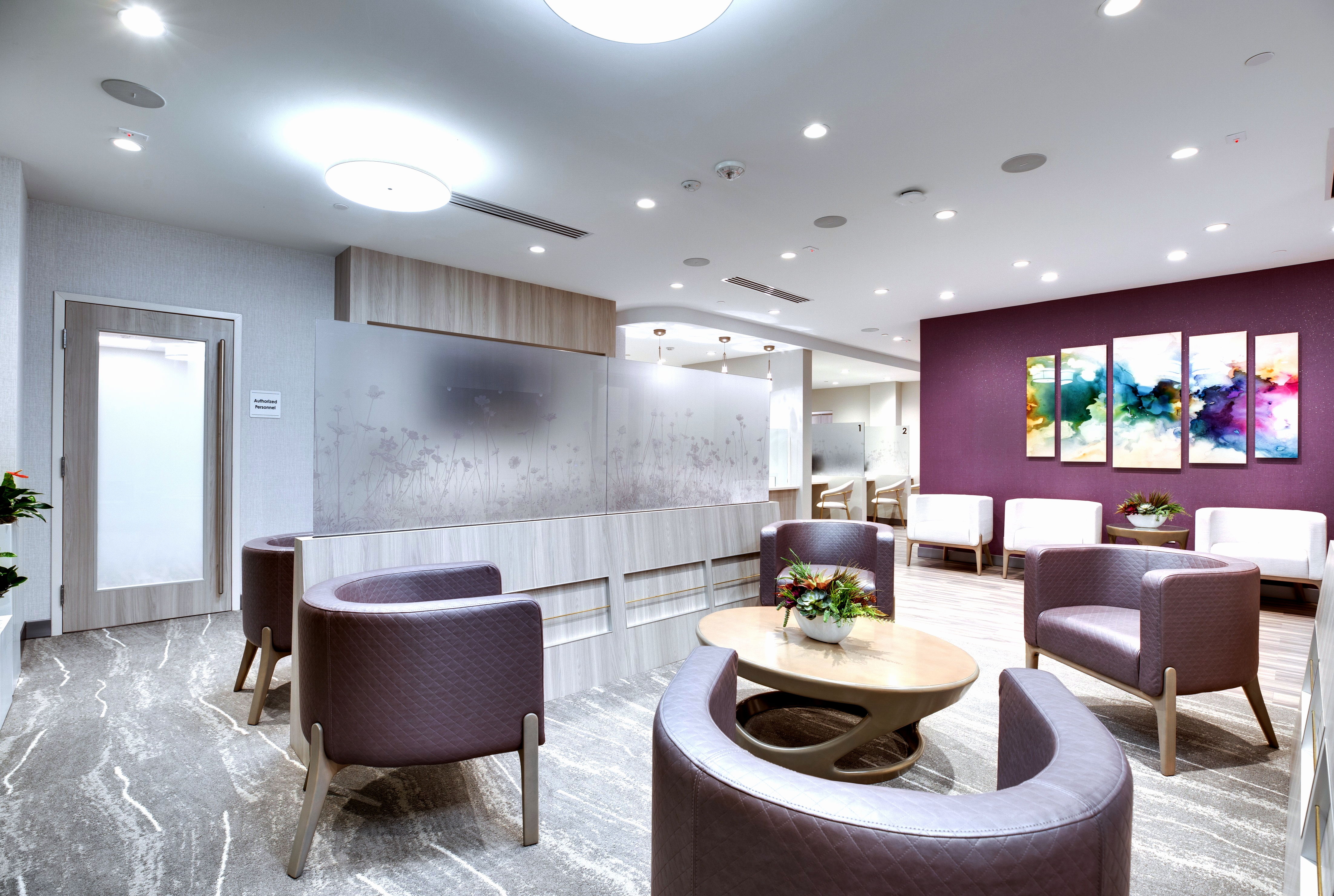 A lot of holistic design went into Fairfax Radiology Breast Center of Loudoun. Because the build-out started just as the COVID-19 pandemic began, the team, including architects and medical professionals, was able to put in the initial design extra safety benefits for the patients and the 32-member staff such as a touchless entrance door and glass wall sections. There's even an app to control flow from the time patients arrive in the parking lot.