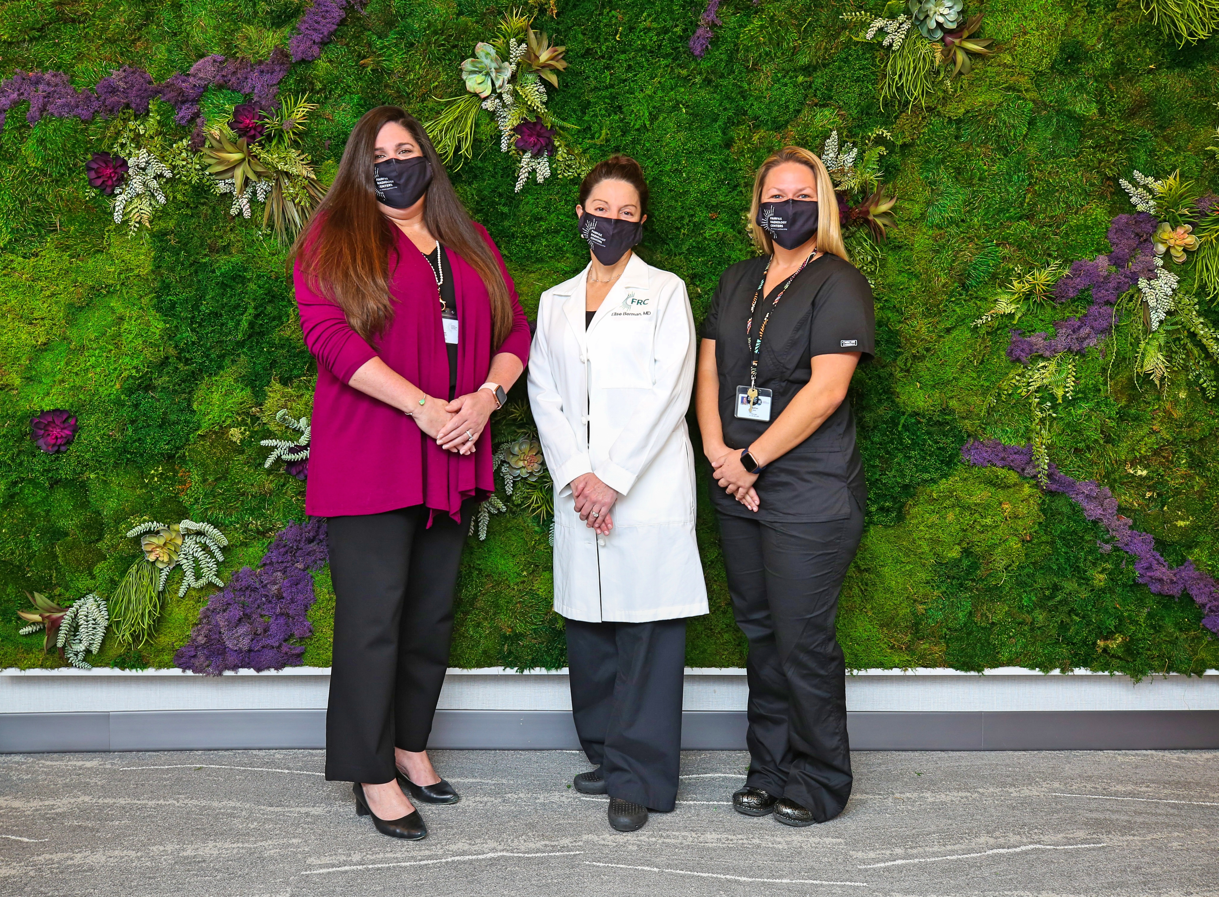 """Pictured  L to R  in front of the """"living wall"""" which is a focal point of the luxe lobby:  Heather Finizio, Senior Clinical Director, Fairfax Radiology Centers  Elise Berman M.D., Fairfax Radiological Consultants, PC  Heather Reilly,Center Manager Fairfax Radiology Breast Center of Loudoun Dr. Bermanis one of more than 90subspecialty trained FRC radiologists, approximately 20 of whom specialize in breast imaging. This additional training, referred to as a breast imaging fellowship, provides radiologists like Dr. Berman with additional acumen in the detection of breast cancers."""